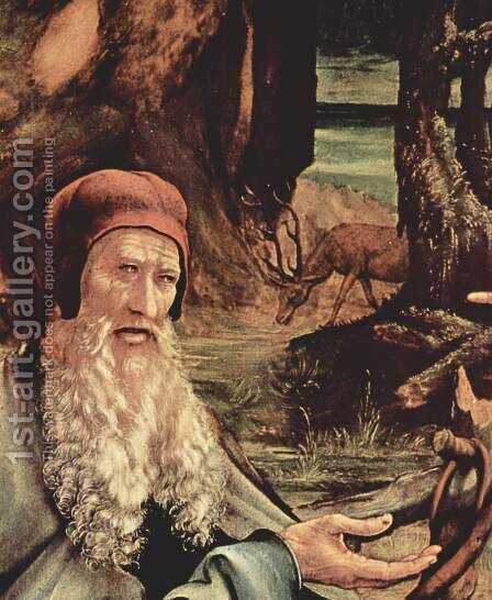 Isenheim Altar, formerly the main altar in Antoniterklosters Isenheim-Alsace, festive side, left wing of St. Anthony's visit with the hermit by Matthias Grunewald (Mathis Gothardt) - Reproduction Oil Painting