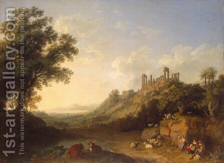 Landscape with temple ruins on Sicily (Valley of the Temples, Agrigento) by Jacob Philipp Hackert - Reproduction Oil Painting
