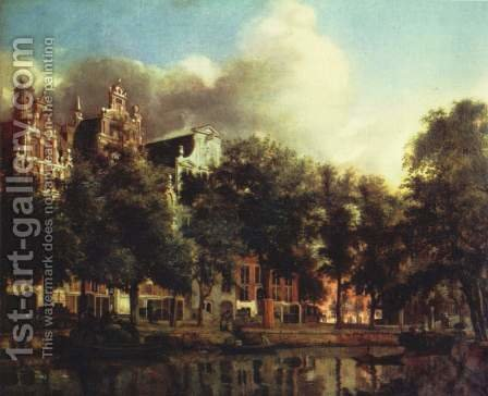 Canal in Amsterdam by Jan Van Der Heyden - Reproduction Oil Painting