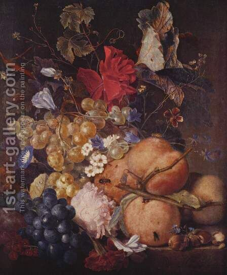 Fruits, flowers and insects by Jan Van Huysum - Reproduction Oil Painting