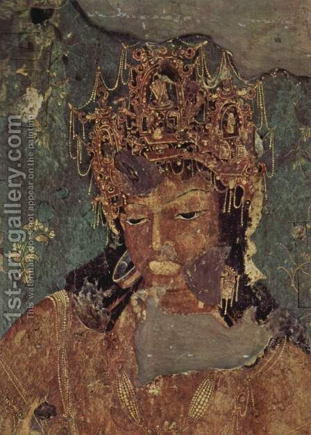 Head of a Bodhisattva by Indian School - Reproduction Oil Painting