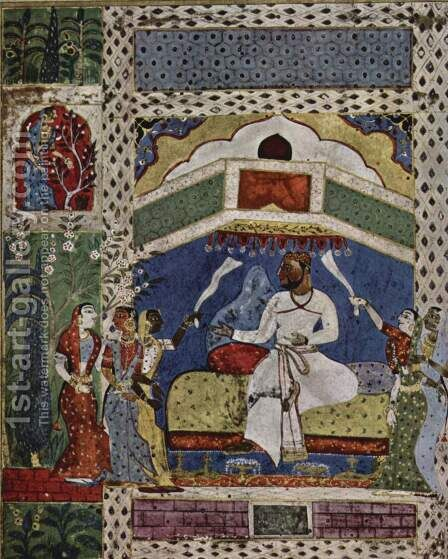 Tariff-i-Hussain Shah manuscript, Scene One king on his throne by Indian School - Reproduction Oil Painting