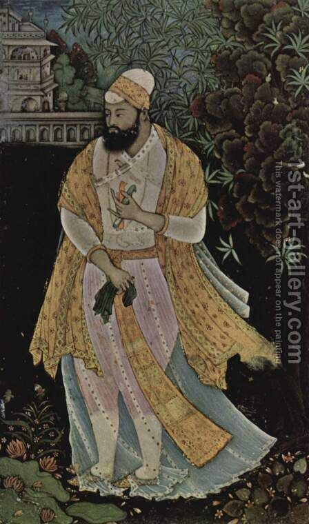 Portrait of Ibrahim 'Adil Shah II of Bigapur (1580-1626) by Indian School - Reproduction Oil Painting