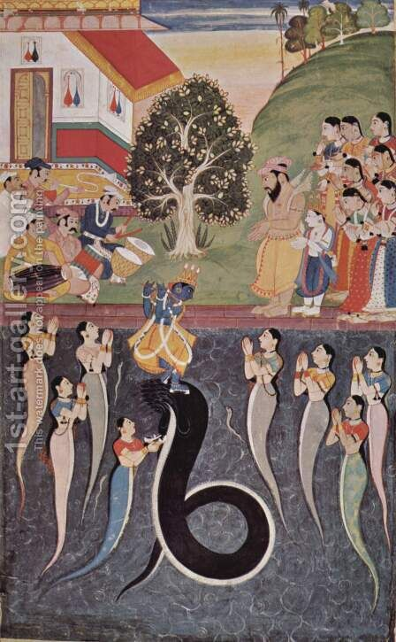 Krishna dances over the subdued Kaliya Naag in river Yamuna, while his wives are praying to Krishna for his mercy by Indian School - Reproduction Oil Painting