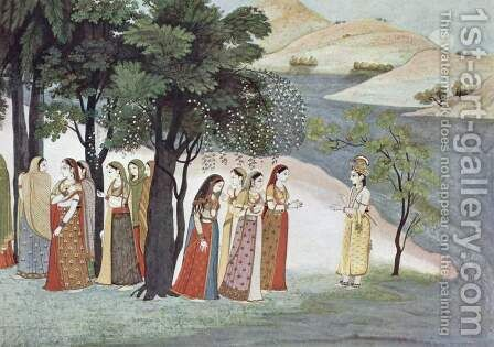 Bhagavata Purana manuscript, Krishna and Gopis scene by Indian School - Reproduction Oil Painting