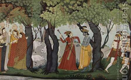 Radha Krishna arrested by Indian School - Reproduction Oil Painting