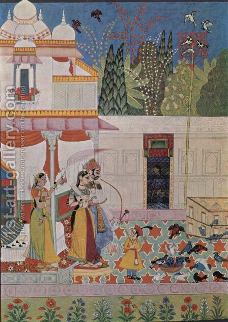 Ragamala series, Scene gentleman and lady watching pigeons by Indian School - Reproduction Oil Painting