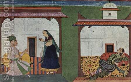 Rasa Manjari manuscript of Bhanu Datta (erotic treatise), scene lovers 2 by Indian School - Reproduction Oil Painting