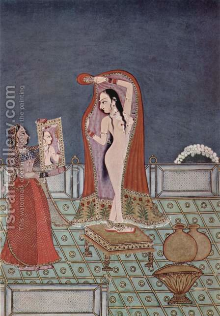 Ragamala series, After the bath scene by Indian School - Reproduction Oil Painting
