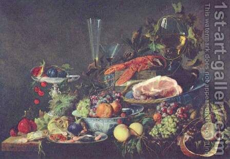 Still life with fruit and lobster by Jan Davidsz. De Heem - Reproduction Oil Painting