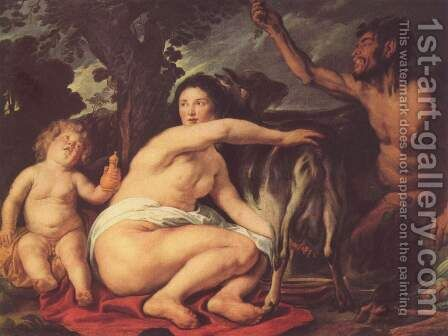Youth of the Zeus (The goat Amalthea nourished Zeus) by Jacob Jordaens - Reproduction Oil Painting