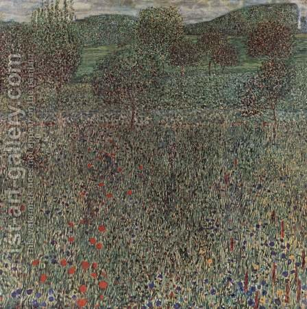 Bloom field by Gustav Klimt - Reproduction Oil Painting