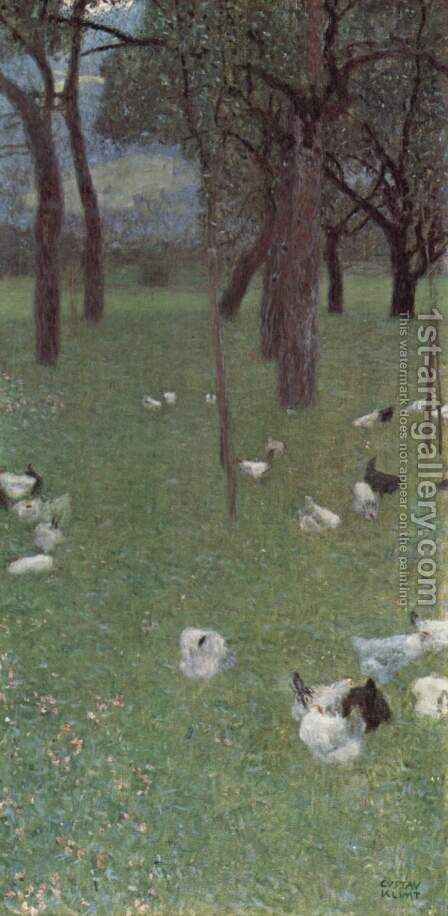 Garden with chickens in St. Agatha by Gustav Klimt - Reproduction Oil Painting