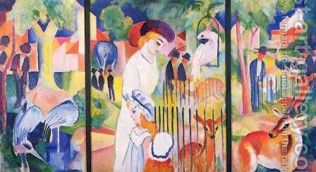 Big Zoo, triptych by August Macke - Reproduction Oil Painting