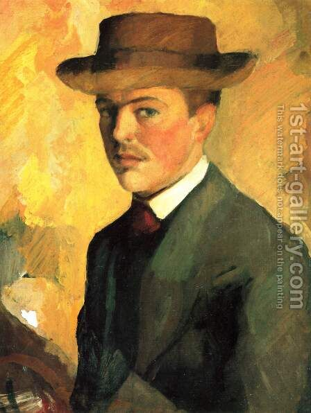 Self-Portrait with Hat by August Macke - Reproduction Oil Painting