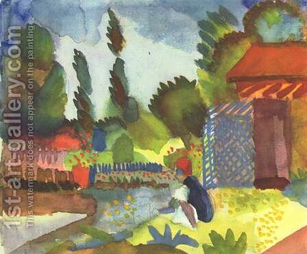 Tunis landscape with a sedentary Arabs by August Macke - Reproduction Oil Painting