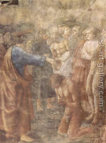 Frescoes of the Brancacci Chapel in Santa Maria del Carmine in Florence, scenes from the life of Peter scene The baptism of a convert by Masaccio (Tommaso di Giovanni) - Reproduction Oil Painting