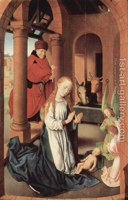 Adoration of the Magi altarpiece, left wing Nativity by Hans Memling - Reproduction Oil Painting