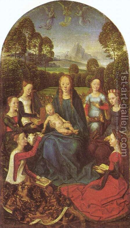 Virgin and Child in a garden, surrounded by saints by Hans Memling - Reproduction Oil Painting