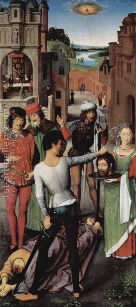 Triptych of the Mystical Marriage of St. Catherine of Alexandria, left wing, the beheading of John the Baptist by Hans Memling - Reproduction Oil Painting