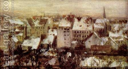 Berlin behind houses in the snow by Adolph von Menzel - Reproduction Oil Painting