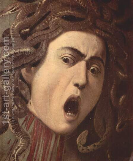 The head of Medusa, Tondo, Detail by Caravaggio - Reproduction Oil Painting