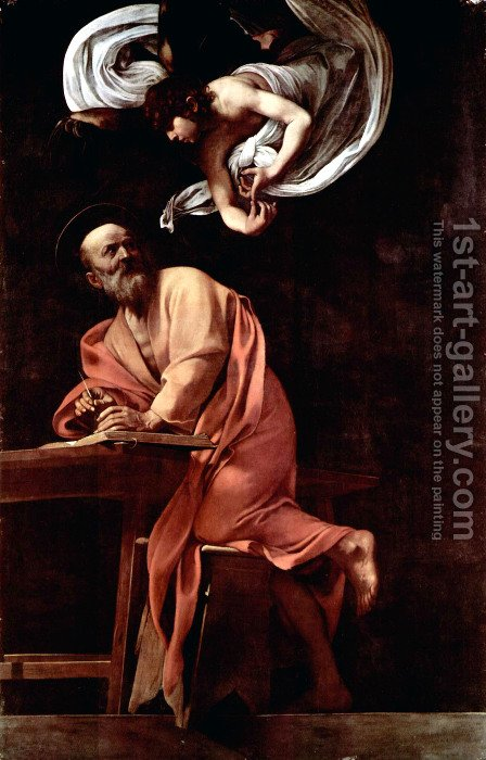 Painting the Contarelli Chapel in San Luigi dei Francesi in Rome, Scene St. Matthew and the Angel by Caravaggio - Reproduction Oil Painting