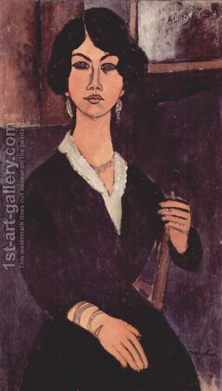 Seated Algerian Almaiisa by Amedeo Modigliani - Reproduction Oil Painting