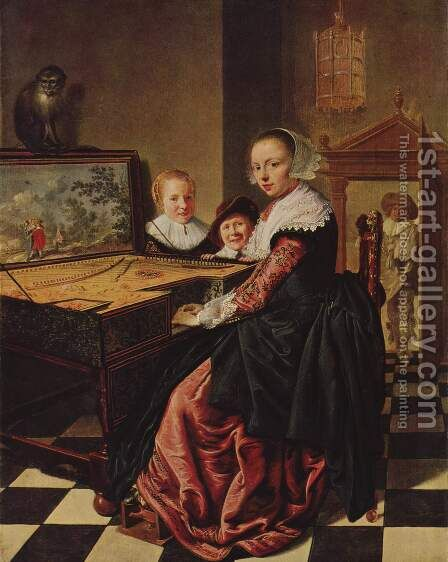 The Music Lesson by Jan Miense Molenaer - Reproduction Oil Painting