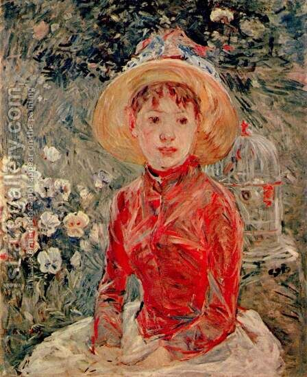 Young girl with cage by Berthe Morisot - Reproduction Oil Painting