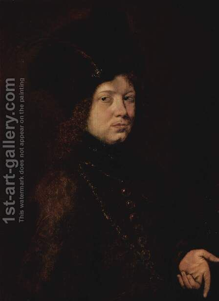 Portrait of a young man with fur hat by Christoph Paudiss - Reproduction Oil Painting