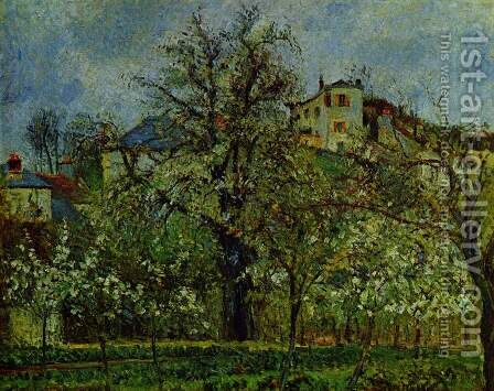Orchard with flowering trees by Camille Pissarro - Reproduction Oil Painting