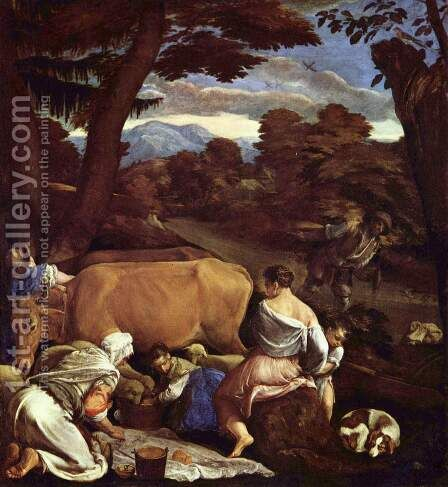 Pastoral scene by Jacopo Bassano (Jacopo da Ponte) - Reproduction Oil Painting