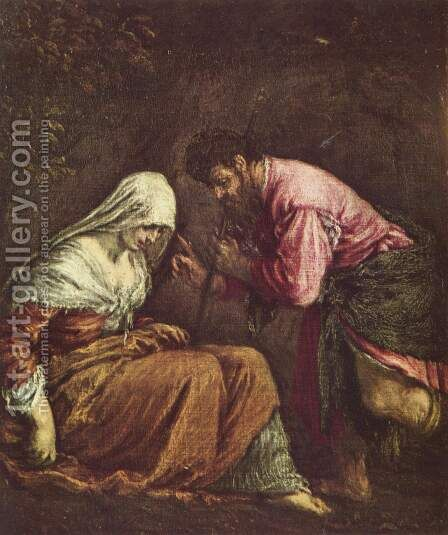 Judah and Tamar by Jacopo Bassano (Jacopo da Ponte) - Reproduction Oil Painting