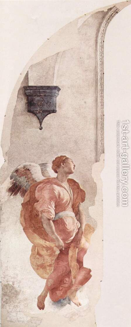 Frescoes of the chapel in Santa Felicita Cappioni in Florence, scene of the Annunciation, Detail Annunciation angel by (Jacopo Carucci) Pontormo - Reproduction Oil Painting