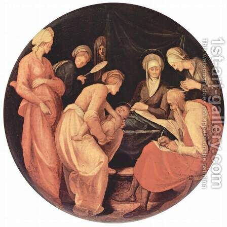 Birth of John the Baptist, Tondo by (Jacopo Carucci) Pontormo - Reproduction Oil Painting