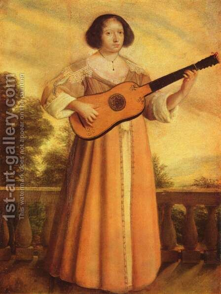 Guitar Player by Augustin I Quesnel - Reproduction Oil Painting