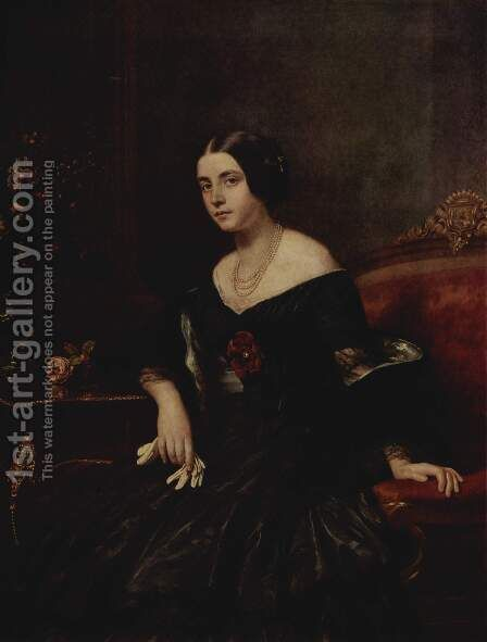 Portrait of a lady in a black dress by Gustav Karl Ludwig Richter - Reproduction Oil Painting
