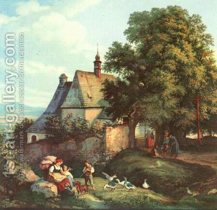 St. Anne Church in Bohemia barley by Gustav Karl Ludwig Richter - Reproduction Oil Painting