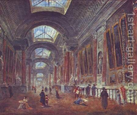Art Gallery of the Louvre, detail by Hubert Robert - Reproduction Oil Painting