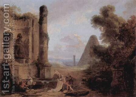 Fantasy view of the Cestia pyramid from the ruins of a temple by Hubert Robert - Reproduction Oil Painting