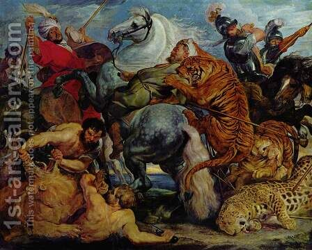 Tiger and lion hunting by Rubens - Reproduction Oil Painting