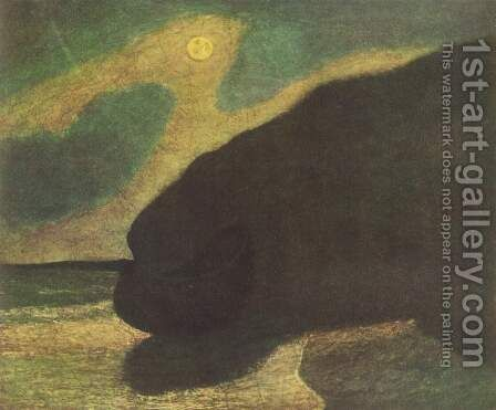 Lake shore in the moonlight by Albert Pinkham Ryder - Reproduction Oil Painting