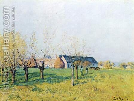 Farmhouse at Hollenkaff by Alfred Sisley - Reproduction Oil Painting