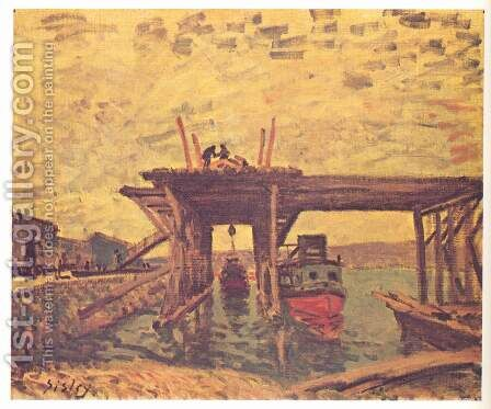 Bridge under construction by Alfred Sisley - Reproduction Oil Painting