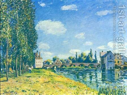 Moret Bridge in the summer by Alfred Sisley - Reproduction Oil Painting