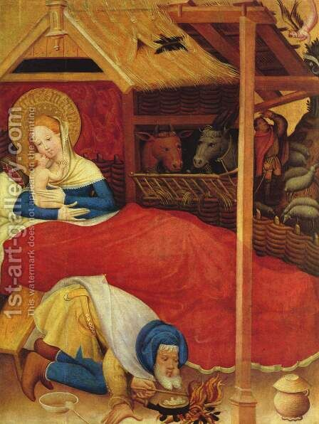 Passion Altar (Altar Wildungen), left wing, Nativity by Conrad von Soest - Reproduction Oil Painting