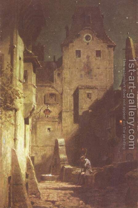The night watchman fallen asleep by Carl Spitzweg - Reproduction Oil Painting