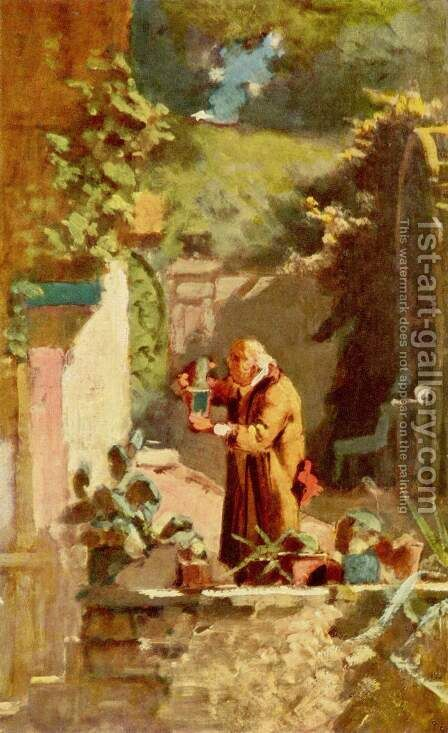 The pastor as a cactus lover by Carl Spitzweg - Reproduction Oil Painting