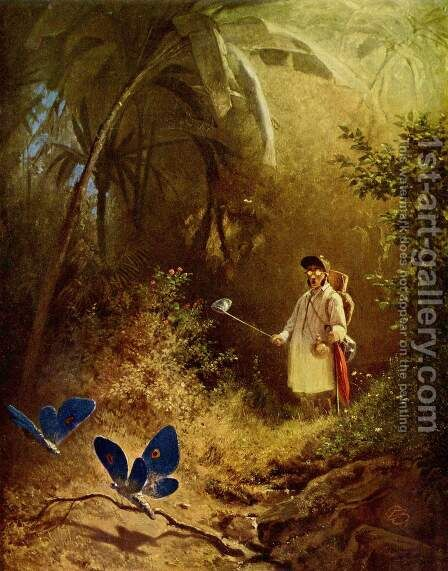 The Butterfly Hunter by Carl Spitzweg - Reproduction Oil Painting